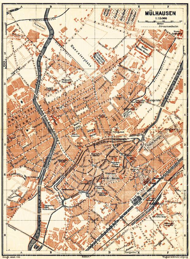 Mülhausen (Mulhouse) city map, 1905. Use the zooming tool to explore in higher level of detail. Obtain as a quality print or high resolution image