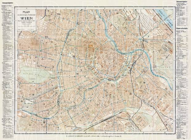 Vienna (Wien) city map, about 1910. Use the zooming tool to explore in higher level of detail. Obtain as a quality print or high resolution image