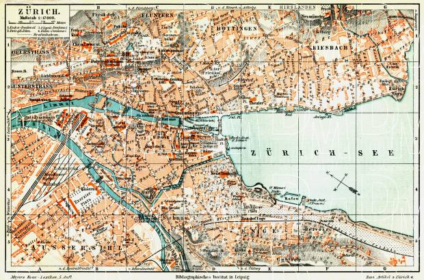 Zürich city map, 1908. Use the zooming tool to explore in higher level of detail. Obtain as a quality print or high resolution image