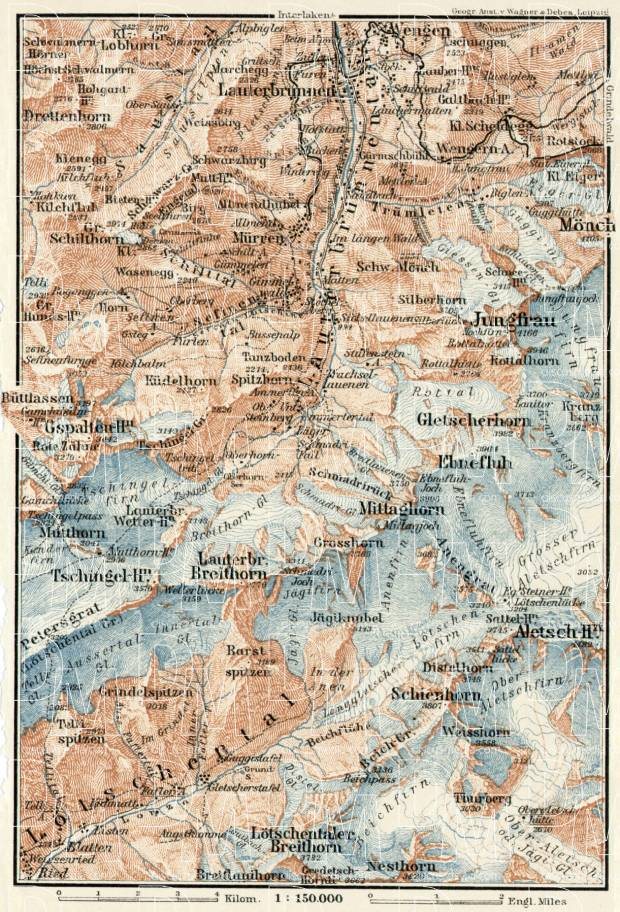 Upper Lauterbrunnen valley map, 1909. Use the zooming tool to explore in higher level of detail. Obtain as a quality print or high resolution image