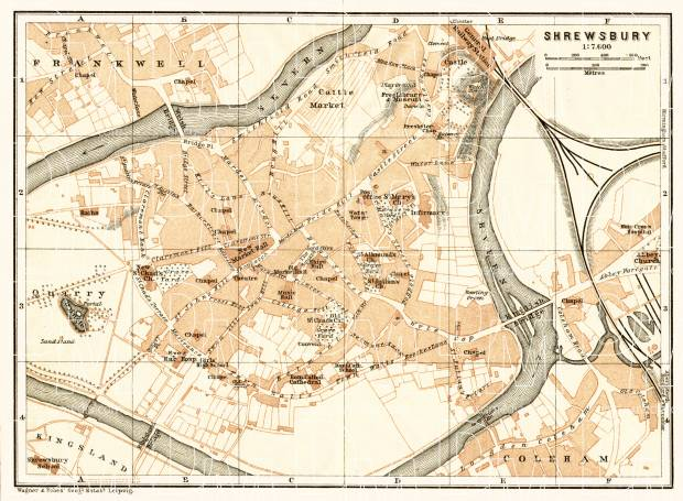 Old map of Shrewsbury in 1906 Buy vintage map replica poster print