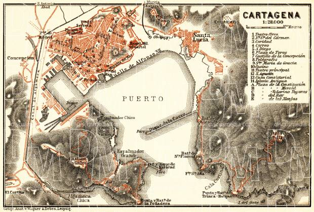 Cartagena city map, 1899. Use the zooming tool to explore in higher level of detail. Obtain as a quality print or high resolution image