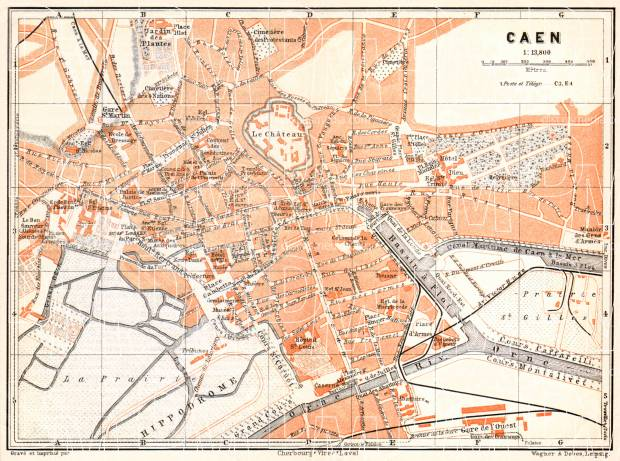 Caen city map, 1910. Use the zooming tool to explore in higher level of detail. Obtain as a quality print or high resolution image