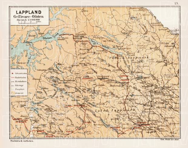 Lappland map. Gellivare - Ofoten, 1899. Use the zooming tool to explore in higher level of detail. Obtain as a quality print or high resolution image