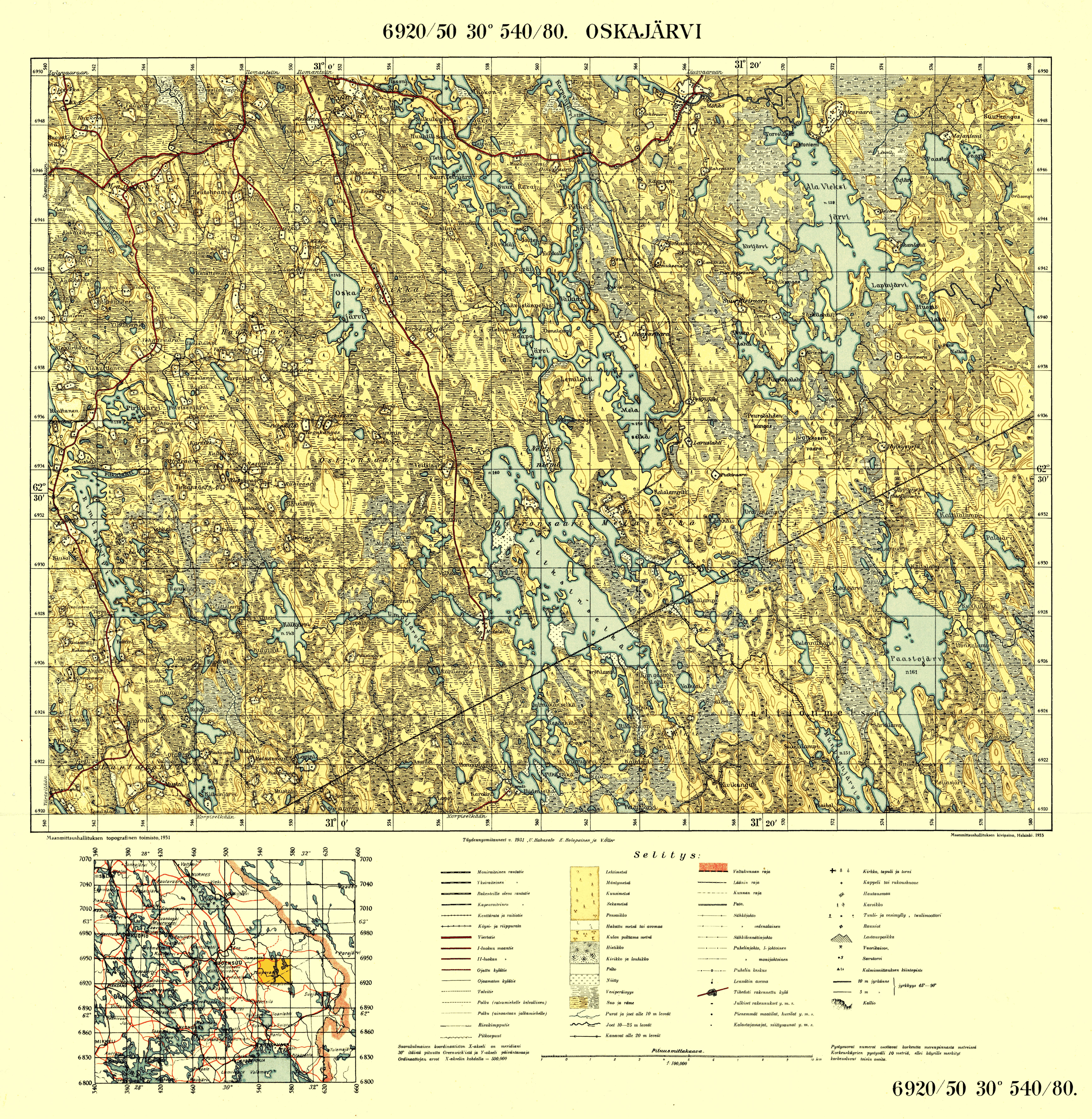 Old map of Imatra and close surrounding in 1945 Buy vintage map