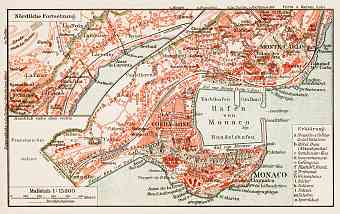 Monaco Vintage map reproduction prints and images for sale and download