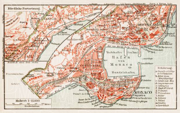 Old map of Monaco in 1913 Buy vintage map replica poster print or
