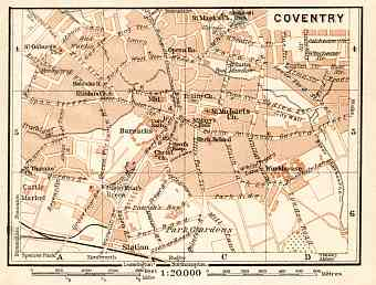 Coventry city map, 1906