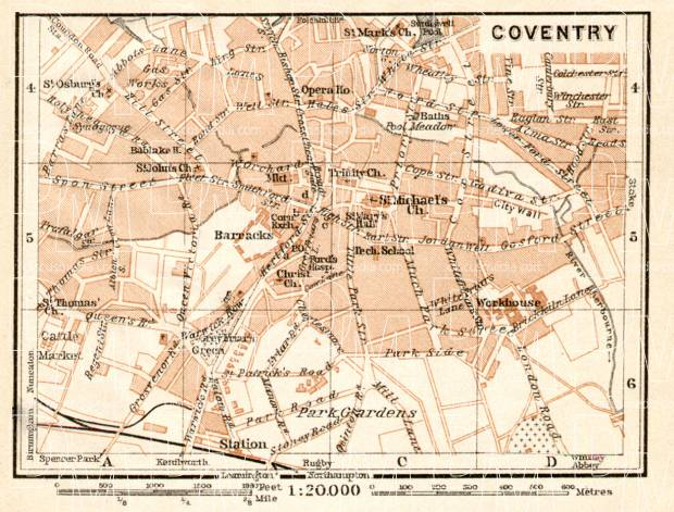 Coventry city map, 1906. Use the zooming tool to explore in higher level of detail. Obtain as a quality print or high resolution image