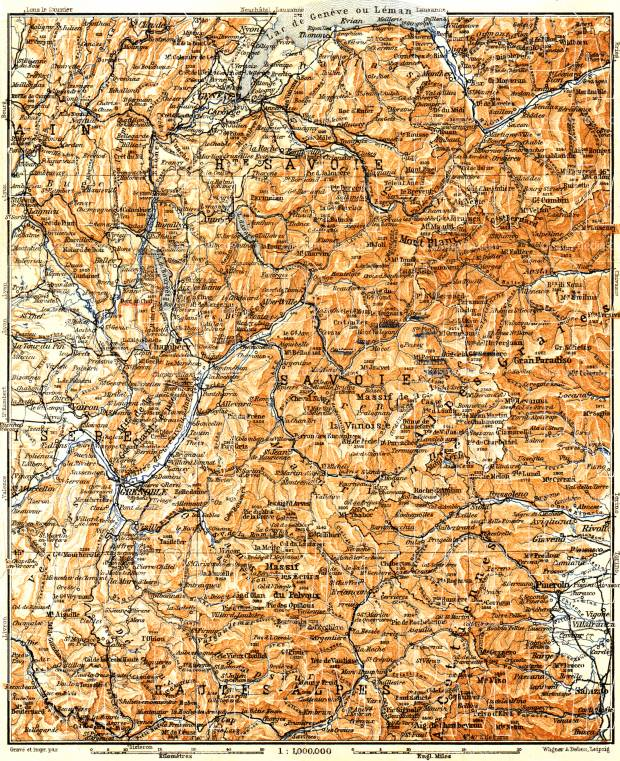 Savoie Mountains map, 1900. Use the zooming tool to explore in higher level of detail. Obtain as a quality print or high resolution image