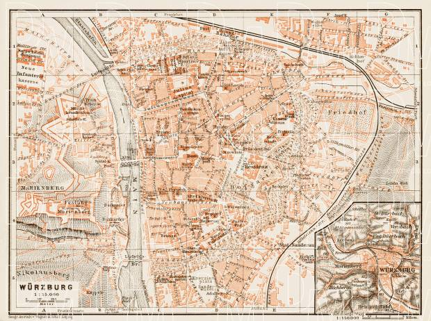 Old map of Wrzburg in 1909 Buy vintage map replica poster print or
