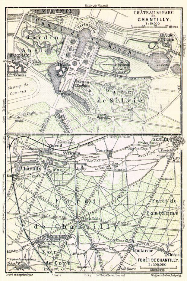 Chantilly, Château de Chantilly map, 1910. Use the zooming tool to explore in higher level of detail. Obtain as a quality print or high resolution image