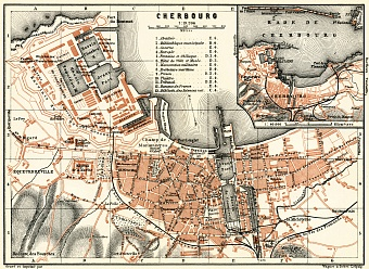 Cherbourg city map, 1913