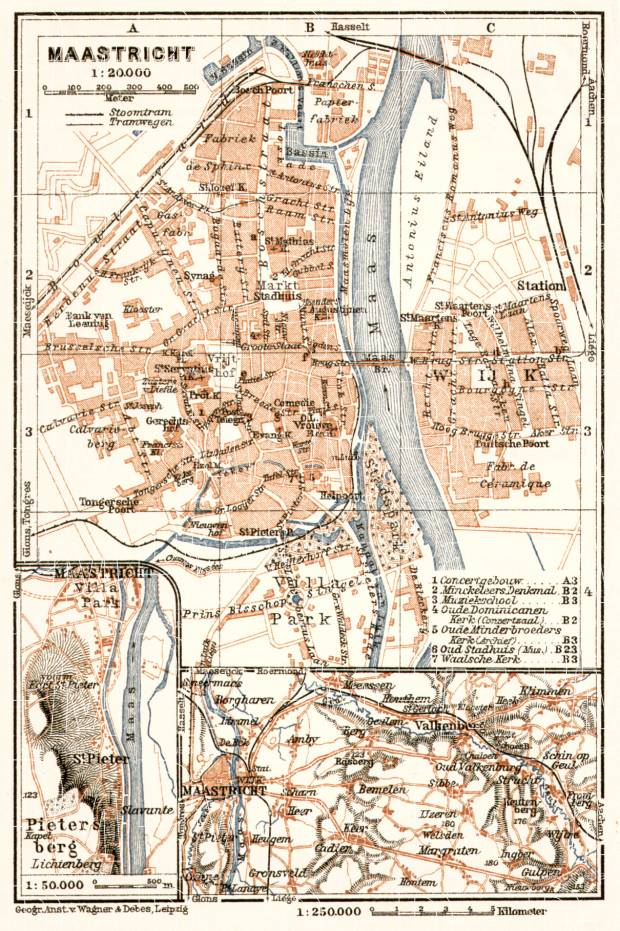 Maastricht city map, 1909. Use the zooming tool to explore in higher level of detail. Obtain as a quality print or high resolution image