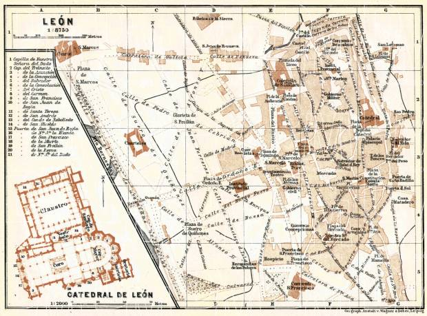 León city map, 1913. Use the zooming tool to explore in higher level of detail. Obtain as a quality print or high resolution image