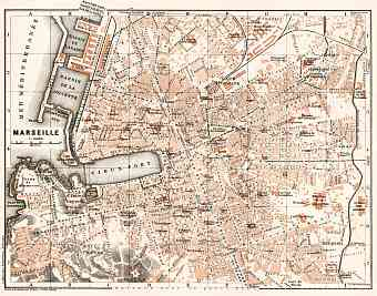 Marseille city map, 1902