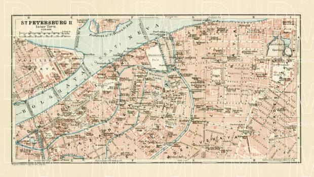 Saint Petersburg (Санктъ-Петербургъ, Sankt-Peterburg) city centre map (in English), 1914. Use the zooming tool to explore in higher level of detail. Obtain as a quality print or high resolution image