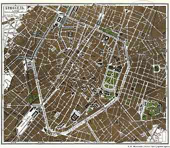 Brussels (Брюссель, Brussel, Bruxelles), city map (Legend in Russian), 1900