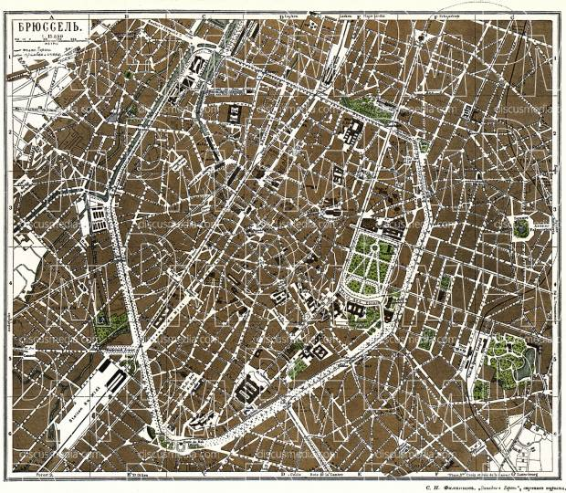 Old map of Brussels Brussel Bruxelles in 1900 Buy vintage map