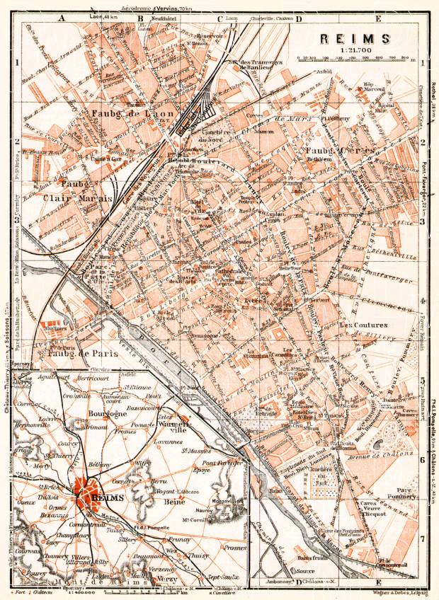 Old map of Reims in 1931. Buy vintage map replica poster print or ...