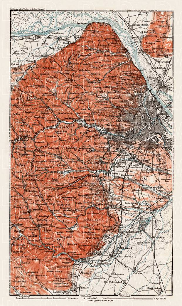 Vienna (Wien) environs map, 1910. Use the zooming tool to explore in higher level of detail. Obtain as a quality print or high resolution image
