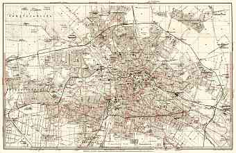Berlin, city map with tramway and S-Bahn networks, 1902