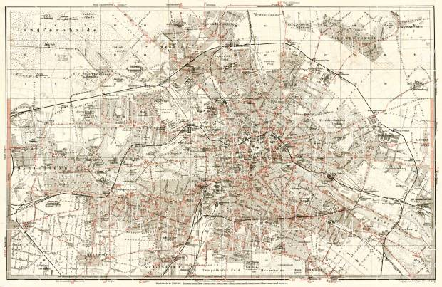 Berlin, city map with tramway and S-Bahn networks, 1902. Use the zooming tool to explore in higher level of detail. Obtain as a quality print or high resolution image