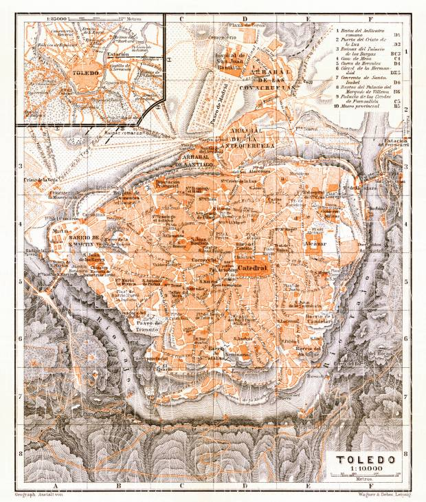 Toledo, city map. Environs of Toledo map, 1899. Use the zooming tool to explore in higher level of detail. Obtain as a quality print or high resolution image
