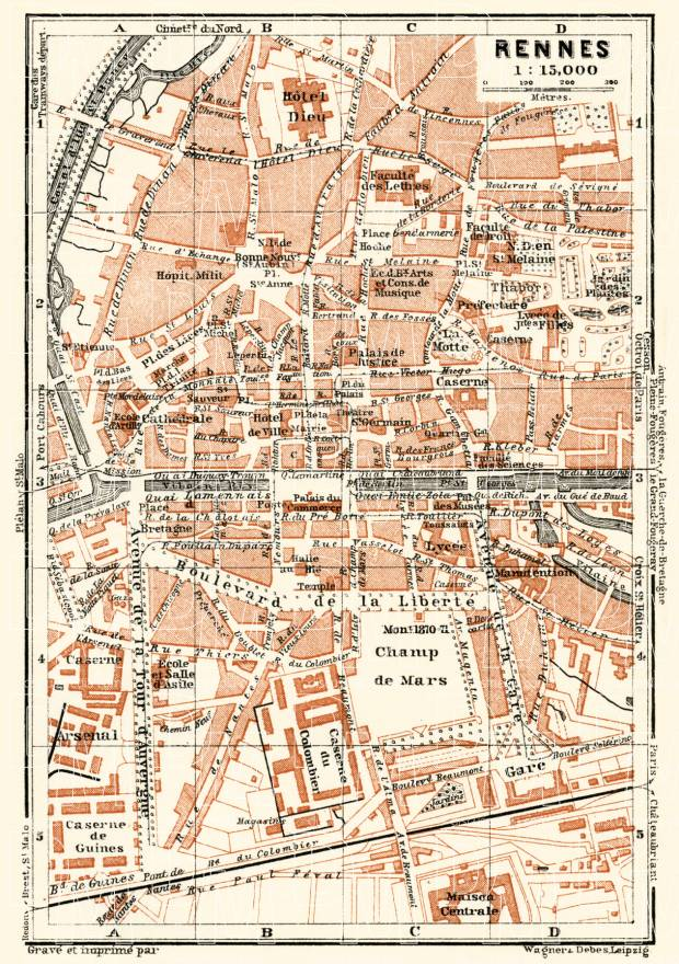 Rennes city map, 1913. Use the zooming tool to explore in higher level of detail. Obtain as a quality print or high resolution image
