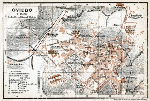 Old Map Of Oviedo In 1913 Buy Vintage Map Replica Poster Print Or