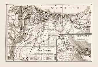 Jönköping city map, 1899. With Husqvarna plan inset