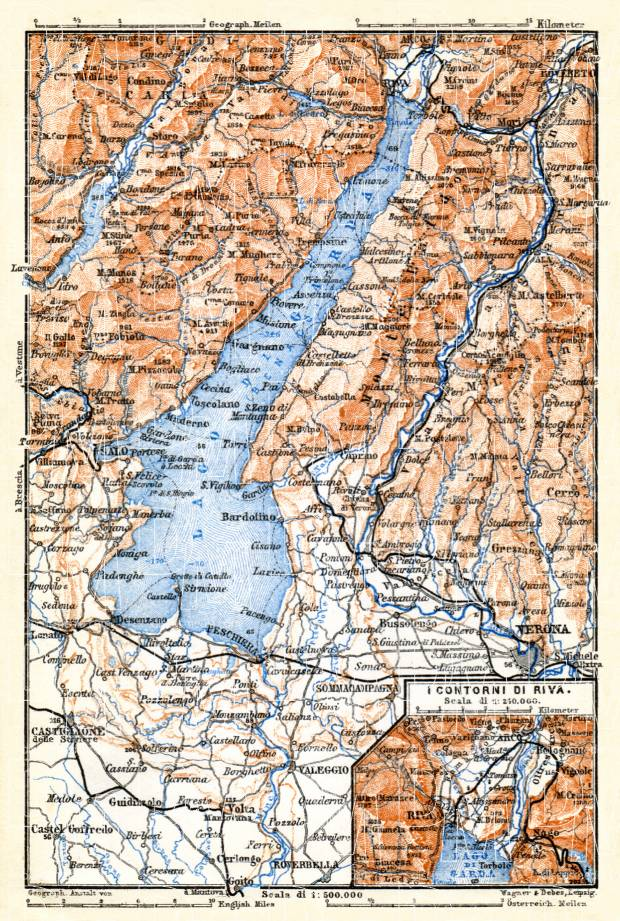 Garda Lake and environs map, 1898. Use the zooming tool to explore in higher level of detail. Obtain as a quality print or high resolution image
