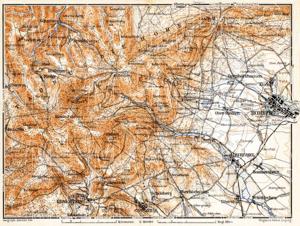 Taunus Mountains map, 1905. Use the zooming tool to explore in higher level of detail. Obtain as a quality print or high resolution image