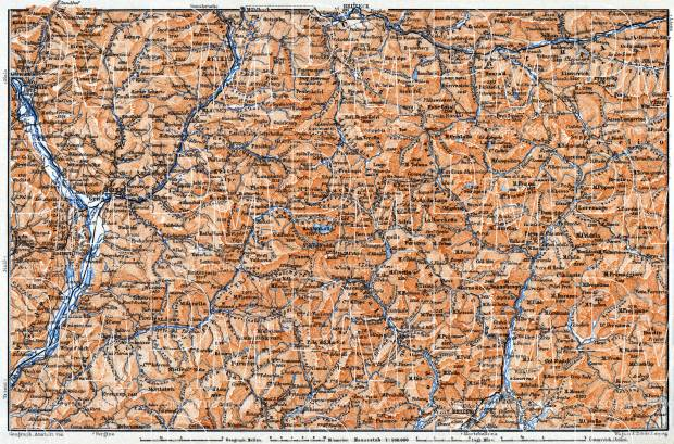 Dolomite Alps (Die Dolomiten) from Franzensfeste to Belluno district map, 1911. Use the zooming tool to explore in higher level of detail. Obtain as a quality print or high resolution image