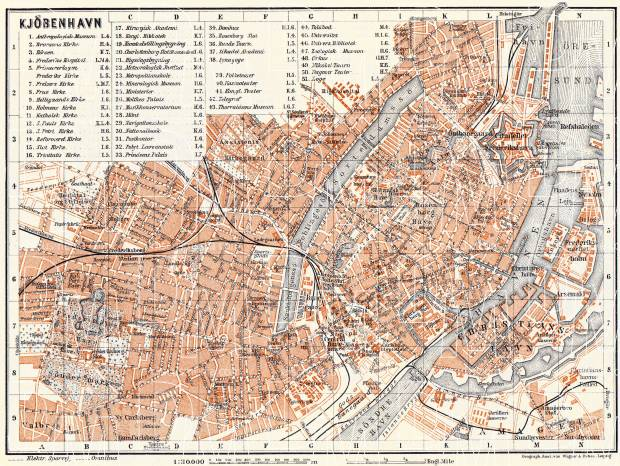 Copenhagen (Kjöbenhavn, København) city map, 1910. Use the zooming tool to explore in higher level of detail. Obtain as a quality print or high resolution image
