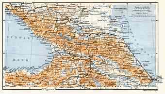 Georgia on the general map of Caucasus, 1914