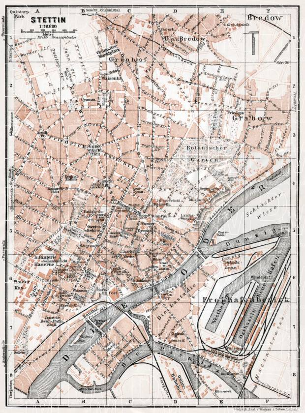 Old map of Stettin Szczecin in 1911 Buy vintage map replica