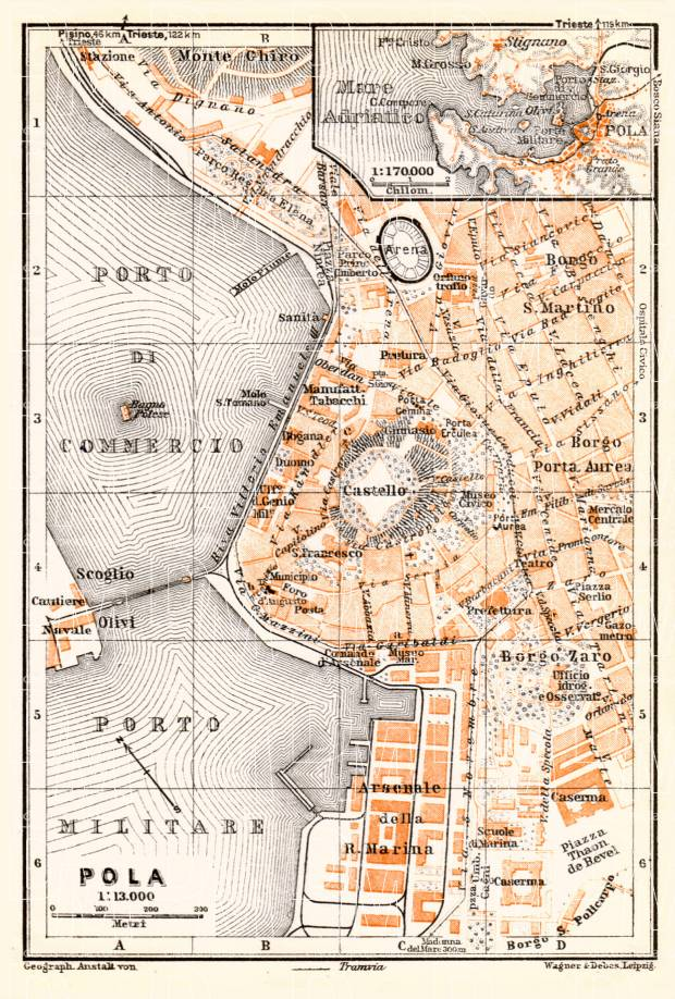 Pola (Pula) city map and environs map, 1929. Use the zooming tool to explore in higher level of detail. Obtain as a quality print or high resolution image