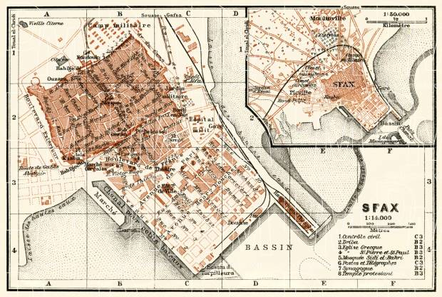 Sfax (صفاقس) city map, 1909. Use the zooming tool to explore in higher level of detail. Obtain as a quality print or high resolution image