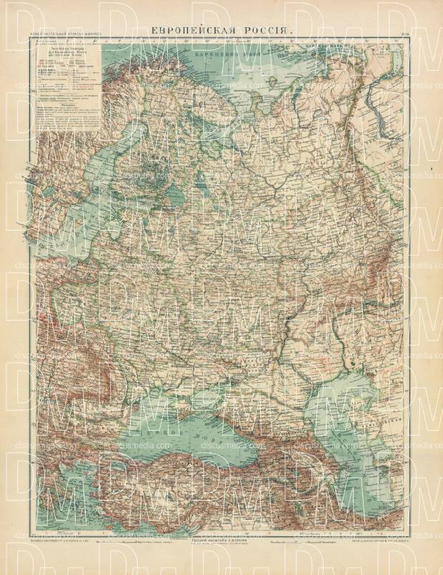 European Russia General Map, 1910. Use the zooming tool to explore in higher level of detail. Obtain as a quality print or high resolution image