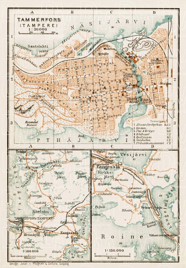 Old map of Tampere Tammerfors and vicinity in 1929 Buy vintage