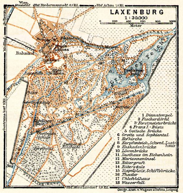Laxenburg (to Vienna/bei Wien) town plan, 1911. Use the zooming tool to explore in higher level of detail. Obtain as a quality print or high resolution image