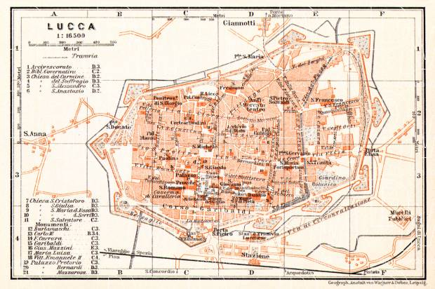 Lucca city map, 1908. Use the zooming tool to explore in higher level of detail. Obtain as a quality print or high resolution image