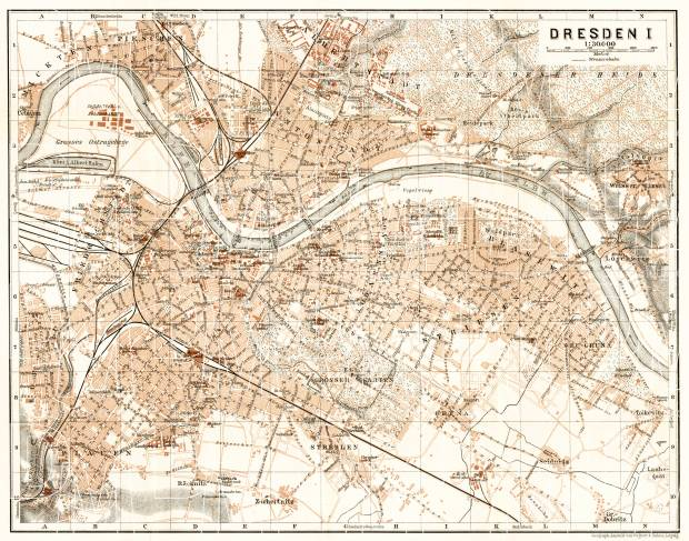 Dresden city map, 1911. Use the zooming tool to explore in higher level of detail. Obtain as a quality print or high resolution image