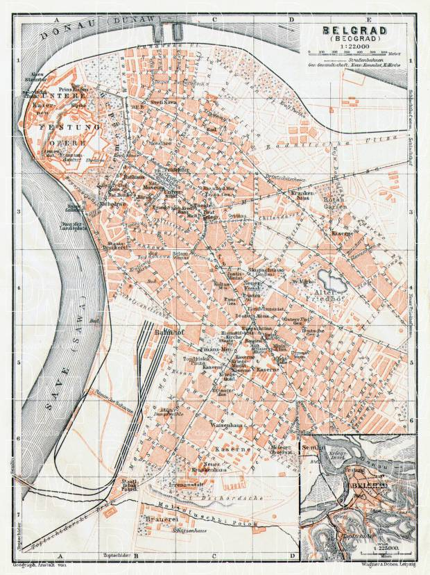 Belgrade (Београд, Beograd) city map. Environs of Belgrade, 1911. Use the zooming tool to explore in higher level of detail. Obtain as a quality print or high resolution image