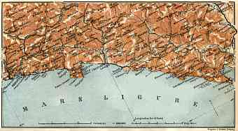 Italian Genoese/Levantian Riviera (Riviére) from Genua to Spezia map, 1913