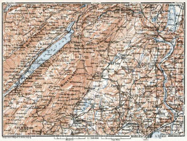Jura department map, western part, 1909. Use the zooming tool to explore in higher level of detail. Obtain as a quality print or high resolution image