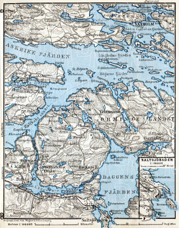 Vaxholm, Saltsjöbaden and environs map, 1910. Use the zooming tool to explore in higher level of detail. Obtain as a quality print or high resolution image