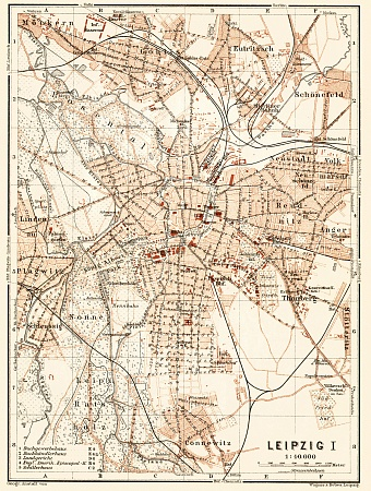 Leipzig city map, 1906