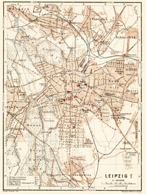 Leipzig city map, 1906. Use the zooming tool to explore in higher level of detail. Obtain as a quality print or high resolution image